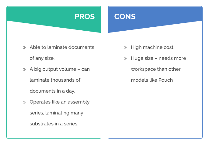 pros and cons table of roll laminators