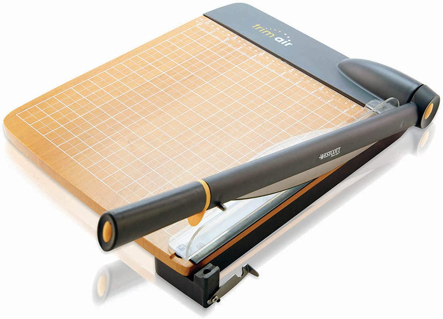 WESTCOTT TRIMAIR TITANIUM WOOD 12-INCH GUILLOTINE PAPER TRIMMER WITH ANTI-MICROBIAL PROTECTION